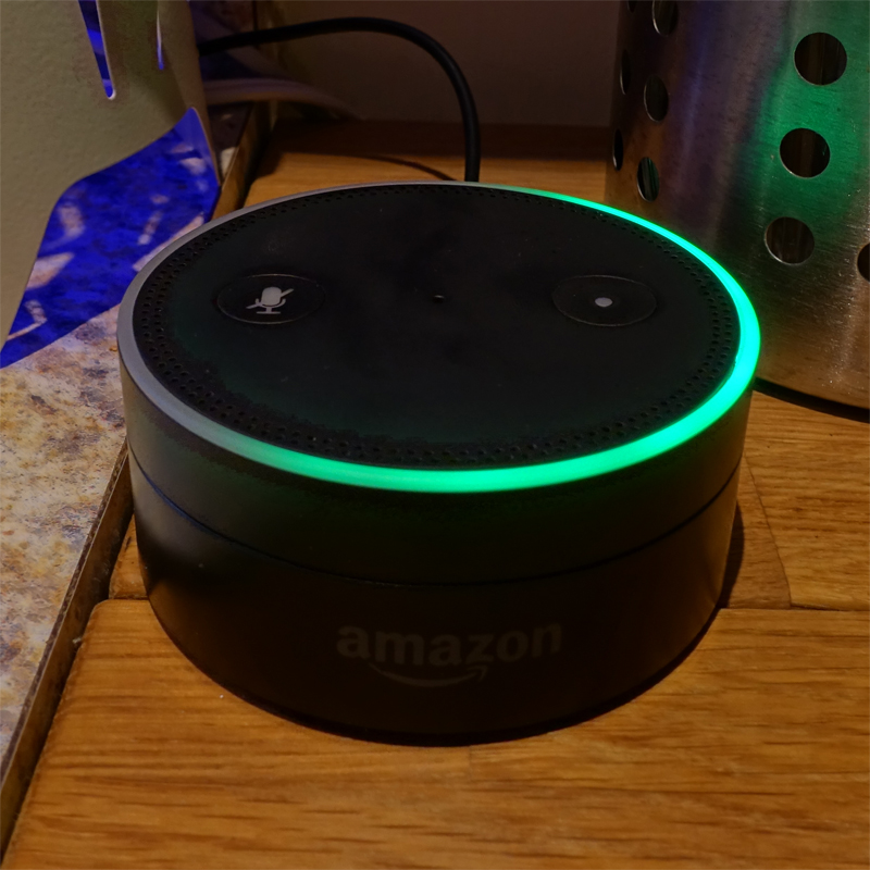 "Amazon Echo Dot during an ""Alexa Call"""