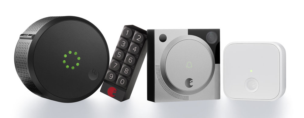 The current August line-up: Smart Lock, Smart Keypad, Doorbell Cam and Connect.