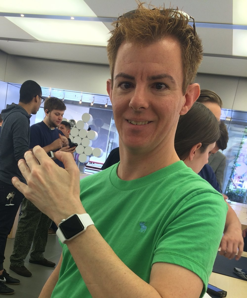 Excited to try on an Apple Watch in April 2015