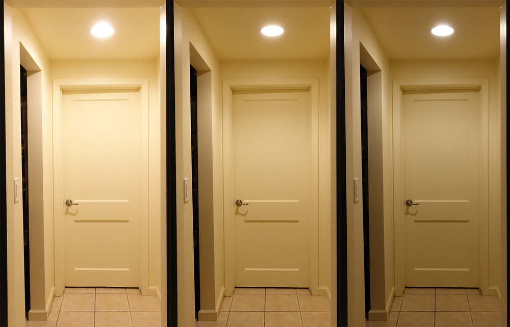 Left to right: Cree 100W-equivalent BR30, Cree 75W-equivalent R20, Cree 65W-equivalent BR30. Un-retouched photos, dimmer set to full brightness, identical exposure settings.