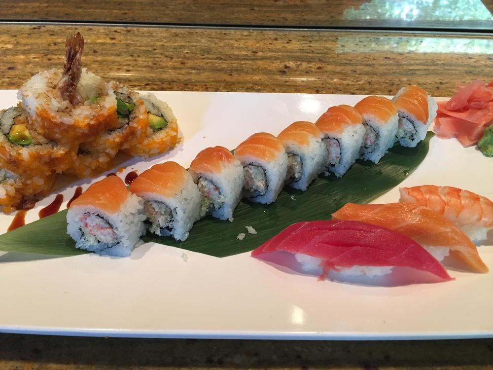 @shrimp tempura, avocado & spicy tuna roll @crunchy & snow crab mix roll salmon on top @tuna nigiri, salmon nigiri & shrimp nigiri