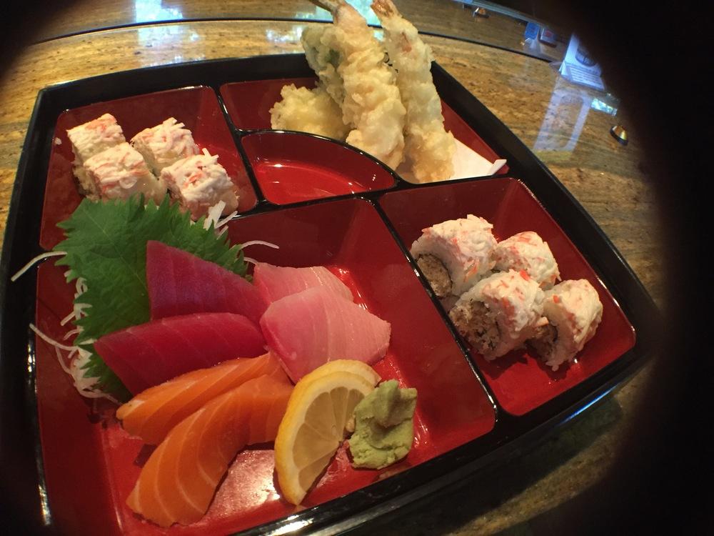 @spicy crunchy, crab mix on top  @sashimi  @mix tempura