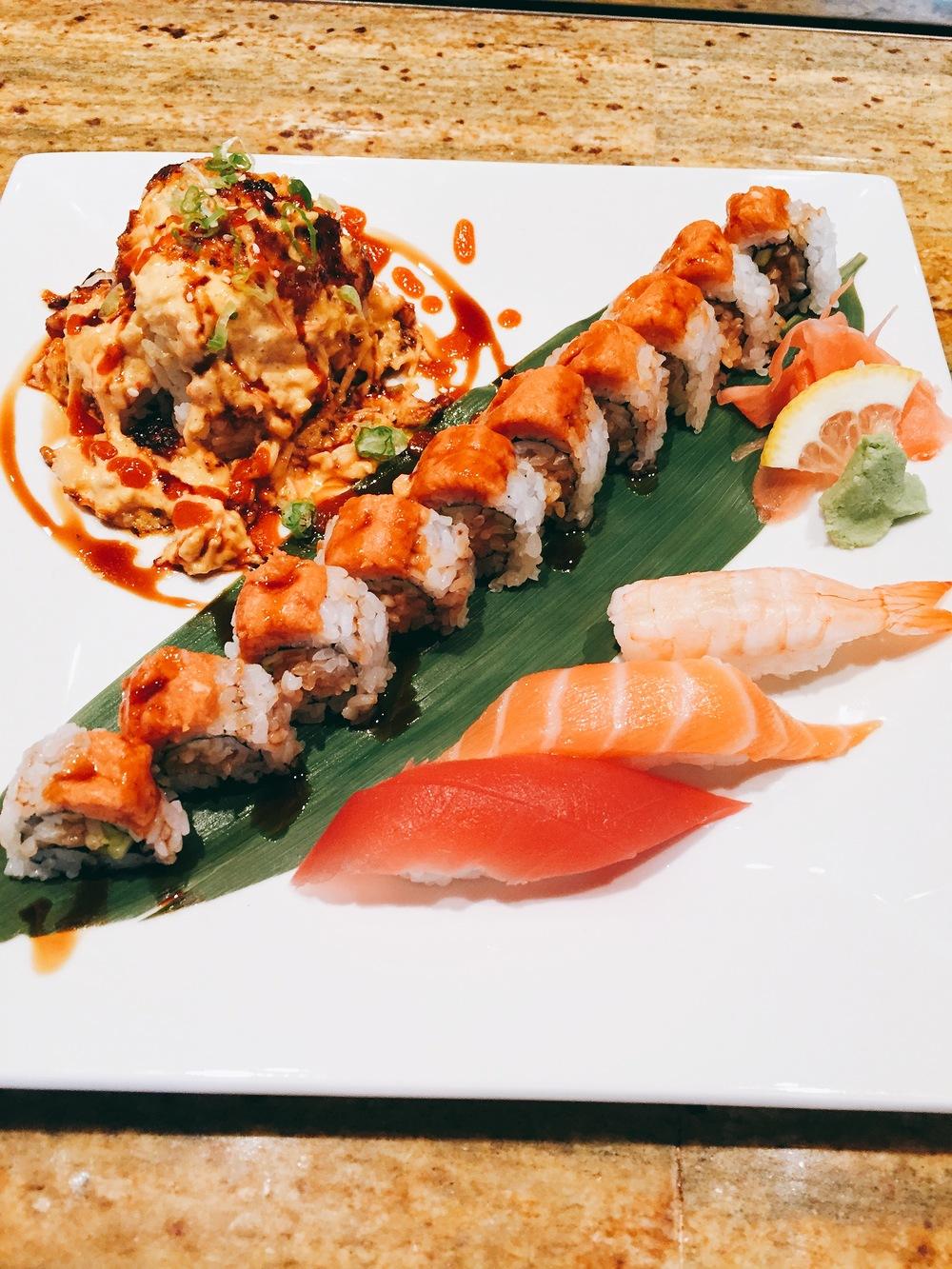 @mini volcano (california roll with shrimp, crab, scallops on top with rainbow sauce)  @eel & cucumber, spicy tuna on top  @shrimp, tuna & salmon nigiri