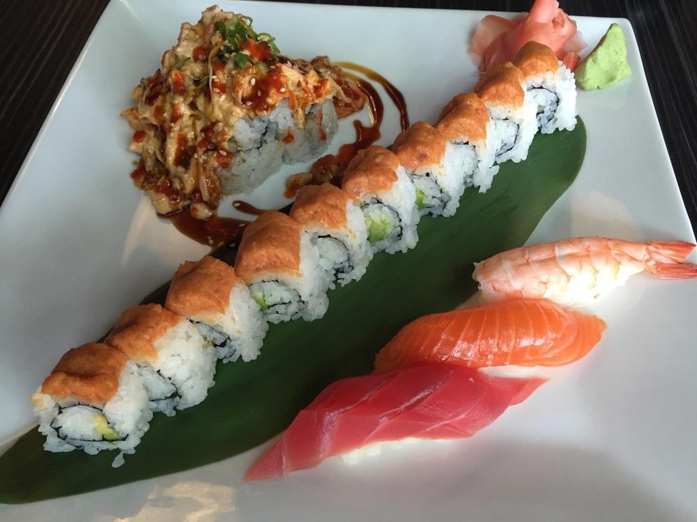 @mini volcano @avocado & cucumber, spicy tuna on top @tuna, salmon & shrimp nigiri