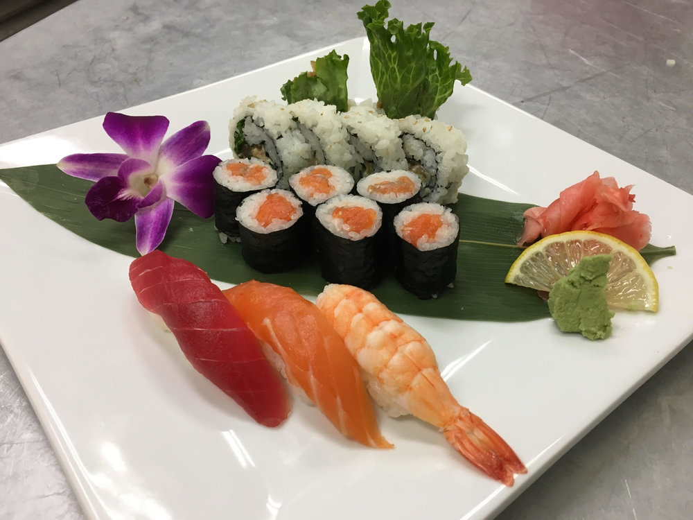 @ sukiyaki beef roll  @ New Zealand King salmon roll  @ Tuna, Shrimp & Salmon Nigiri