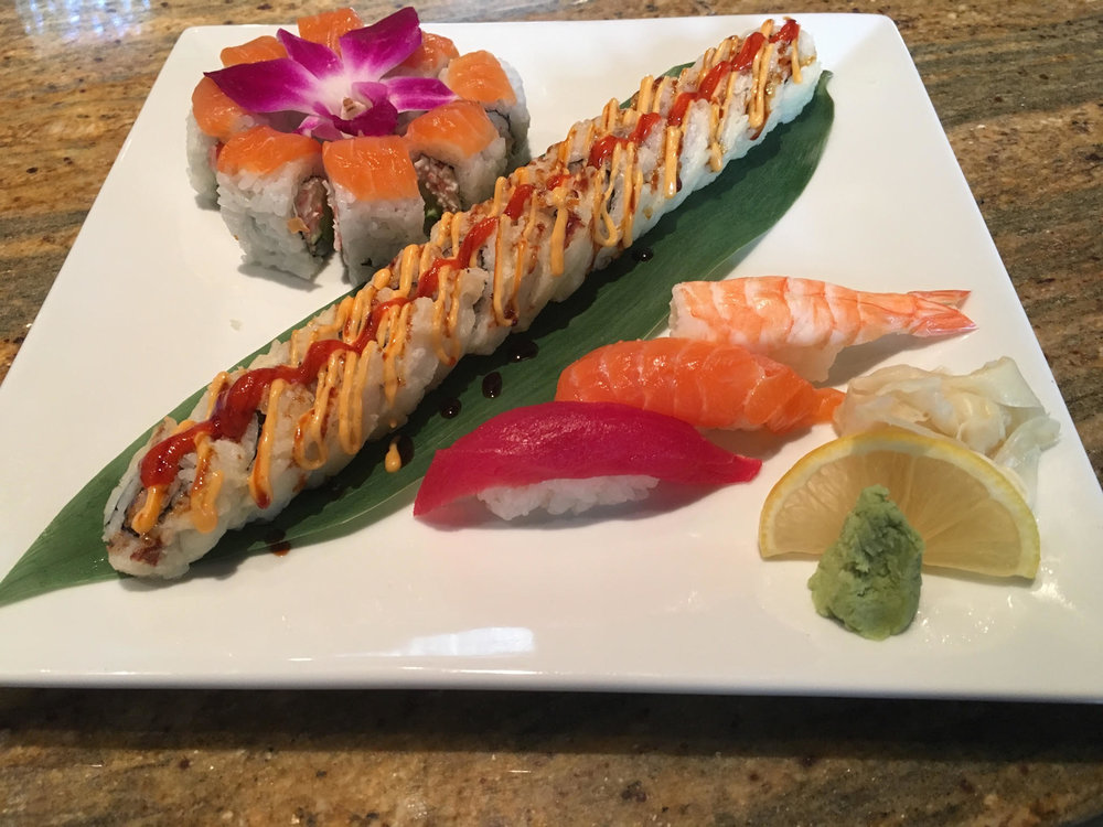@snow crab mix, avocado & cucumber, salmon on top @deep fried spicy tuna roll @tuna, shrimp & salmon nigiri
