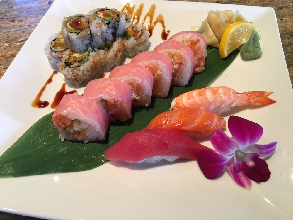 @eel tempra, avocado roll  @spicy tuna, crunchy & avocado, soy sheet wrap roll  @tuna, salmon & shrimp nigiri