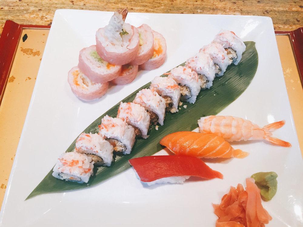 # Shrimp tempura, avocado & masago # Spicy tuna & tempura crunchy # Tuna, salmon & shrimp nigiri