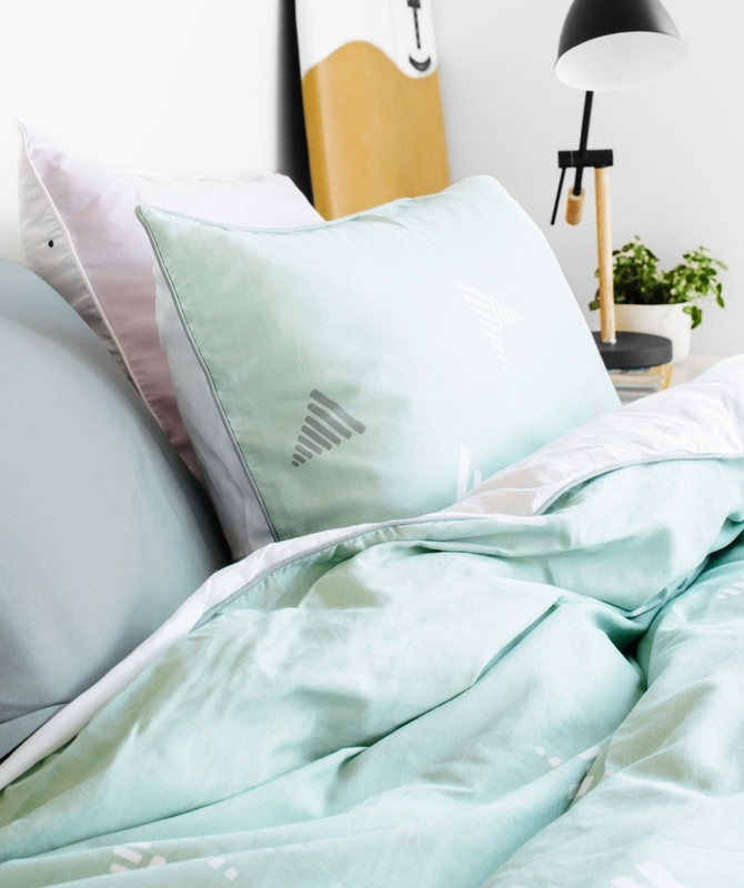 "San Diego Quilt Set  - ""Don't be surprised if you wake up with a golden tan and feel like you've spent the last two weeks kicking back on a tropical island. The San Diego Quilt Set is made from 100% cotton, 400 thread count and free from harmful chemicals. Available in Single, Double, Queen, King & Super King. From $169  The San Diego quilt set has been styled with the Cinder Sheet Set and Eskimo pillowcase."""
