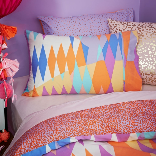 Croc   - from $99.95 - The kids Croc design features a visually spectacular display of vivid, colours and shapes that will bring fun and excitement into any bedroom. Created from 250 thread count ultrafine cotton percale this super soft quilt cover set offers a contrasting reverse of scattered polka dots across a cool lilac base.