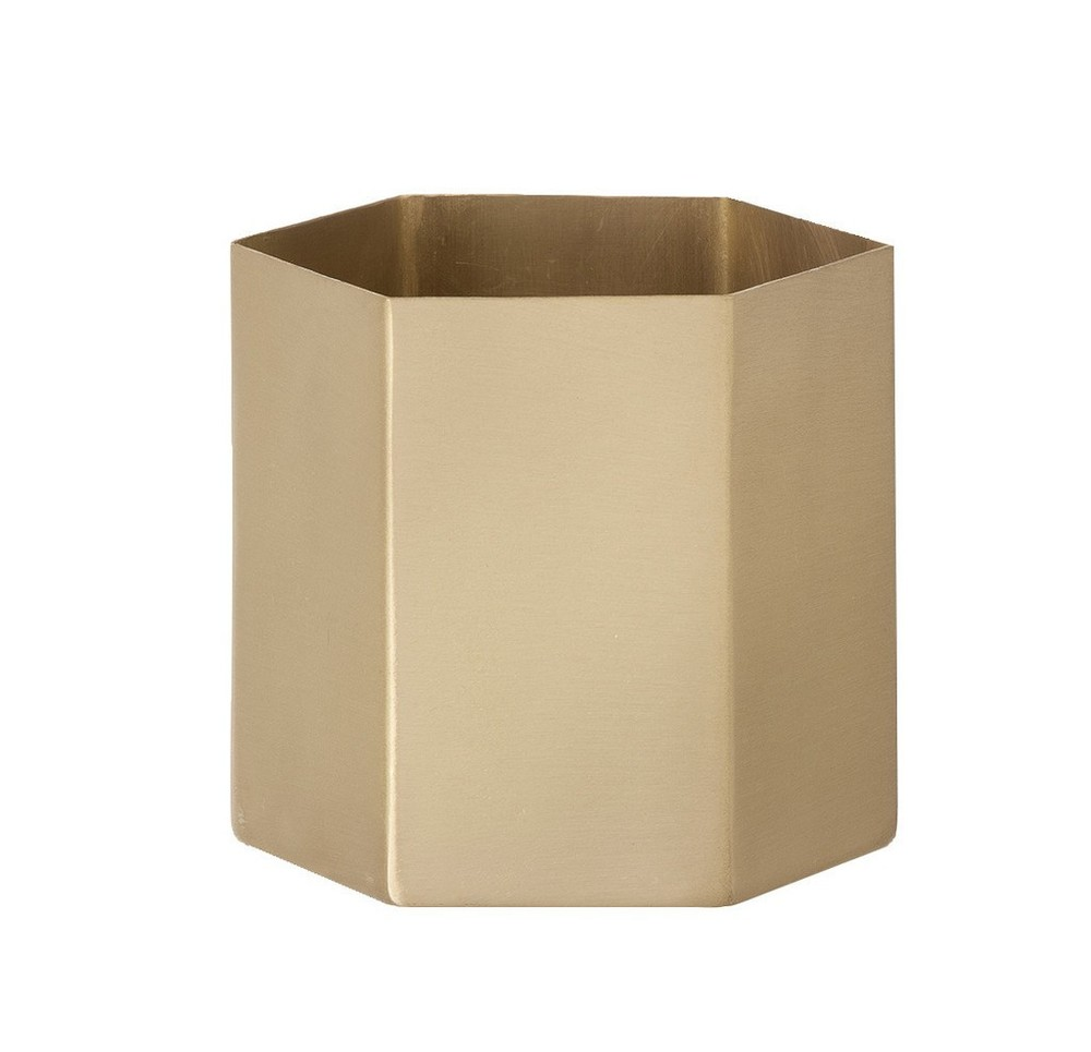 Norsu Interiors -  Brass Hexagon Pot Small - $69.95