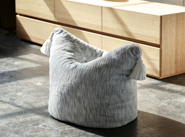 Pony ottoman in charcoal, $59.95