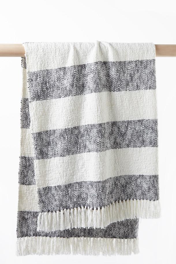 Stripe slub throw in charcoal milk, $69.95