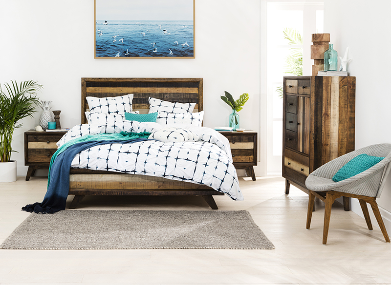 Constructed from recycled pine, the Crisp suite features multi-coloured stained treatments giving it a truly unique, one-of-a-kind look and feel.  Crisp Queen Bed: From RRP $1,199 - Crisp Bedside Tables: From RRP $349 each - Crisp Tallboy: From RRP $1199