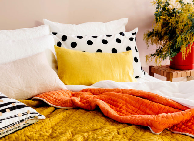 Terracotta + Mustard reversible coverlet