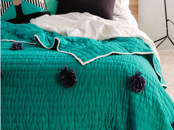 Bright Mint pom pom coverlet