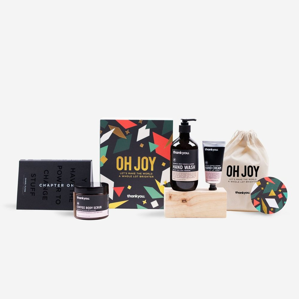 """OH JOY"" - THE SET $60   This life-changing Christmas gift set includes:  ""Chapter One"" - best selling book by Daniel Flynn 1 x Botanical Sweet Orange & Almond Hand Wash (500ml) 1 x Botanical Geranium & Rosewood Hand Cream (70ml) 1 x Botanical Geranium & Rosewood Coffee Body Scrub (300g) 1 x Limited Edition ""Oh Joy"" Calico Bag"