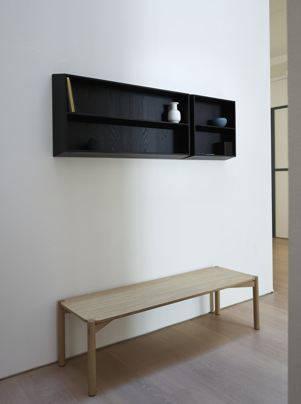 Brac Wall Modular System -Latest new entry for Ex.t, Florence based studio Deferrari+Modesti has designed a flexible furniture system made of wall mounted containers. The tapering of frame and shelves gives aesthetic lightness to the design whilst the varnished ash provides strength to the piece. Featuring three essential and elegant modules that can be set together in multiple ways, Brac is an ace solution for the bathroom as well as for many residential or working spaces.
