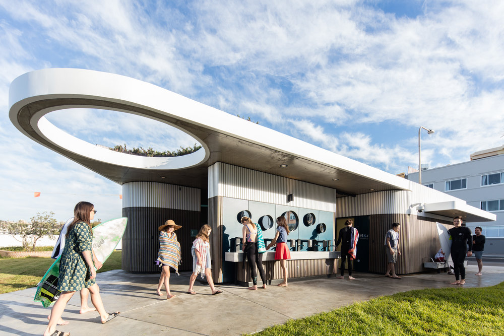 Commercial Exterior Winner Project: North Bondi Amenities by Sam Crawford Architects with Lymesmith -  Featured Dulux colours: Khaki, Straw, Teal, Opaline and Cootamundra  Photo by Brett Boardman.