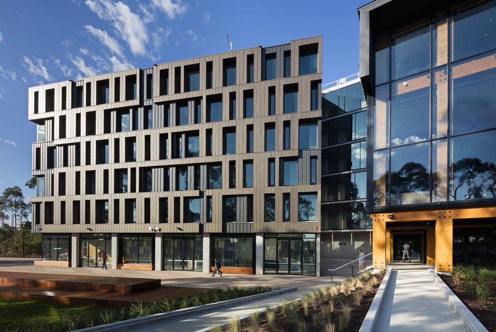 Multi-Residential Exterior Winner Project: RMIT Bundoora West Student Accommodation by Richard Middleton Architects -  Featured Dulux colours: Electro Mid Bronze  Photo by Dianna Snape.
