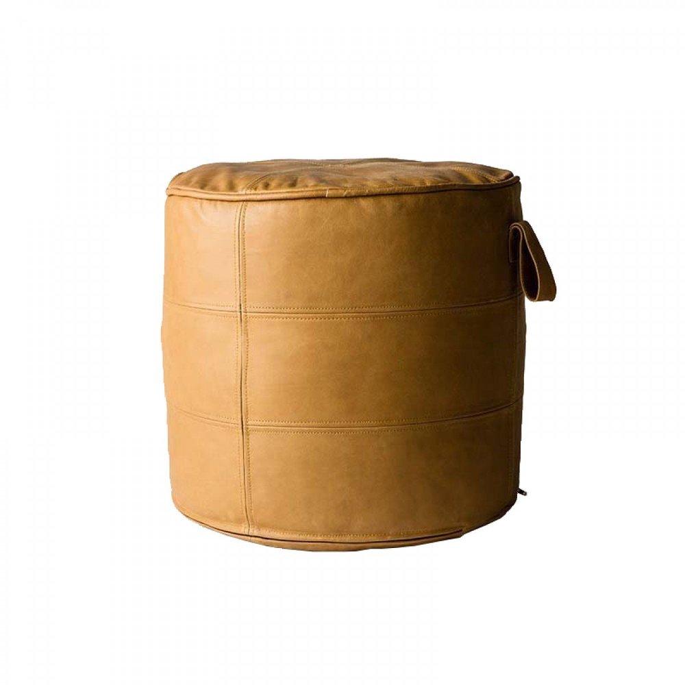 MJG Round leather ottoman -  Life Interiors