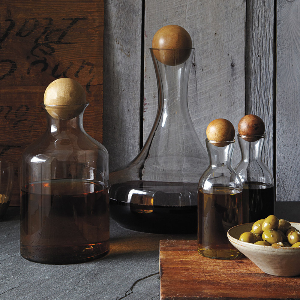 Glass bottles with wooden stoppers - West Elm