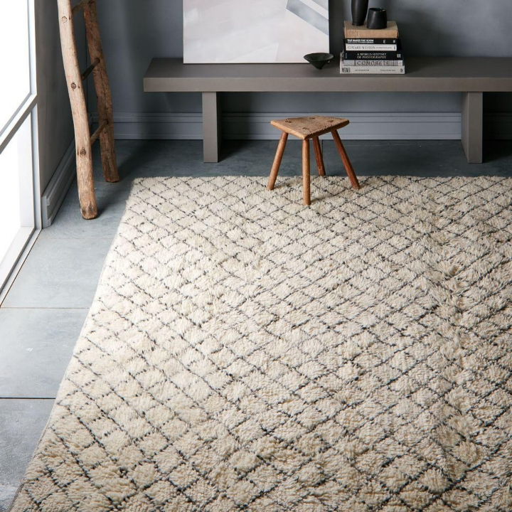 West Elm - Watercolour Trellis Wool Shag Rug - Ivory