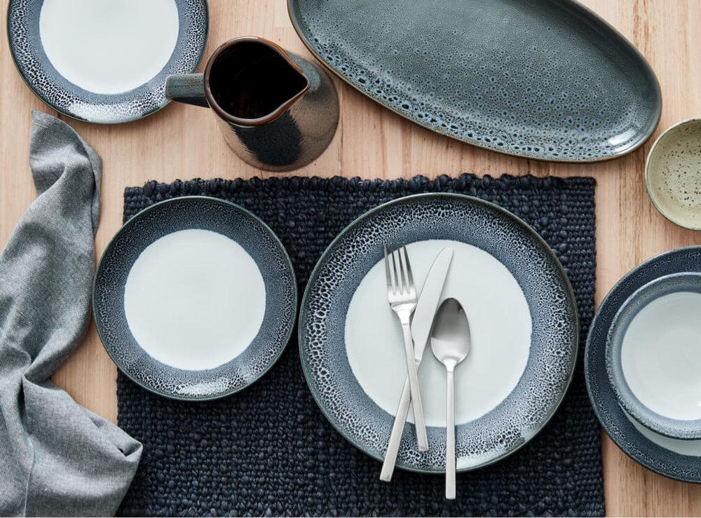 Blue Reactive Dinner Plate