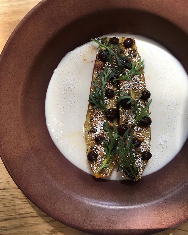 Sweet potato roasted over coffee beans, smoked almond milk, dukkah, puffed amaranth, coffee #racionpasadena #tapas #spanishfood #sweetpotato #eeeeeats #eaterla #onlyinoldpas