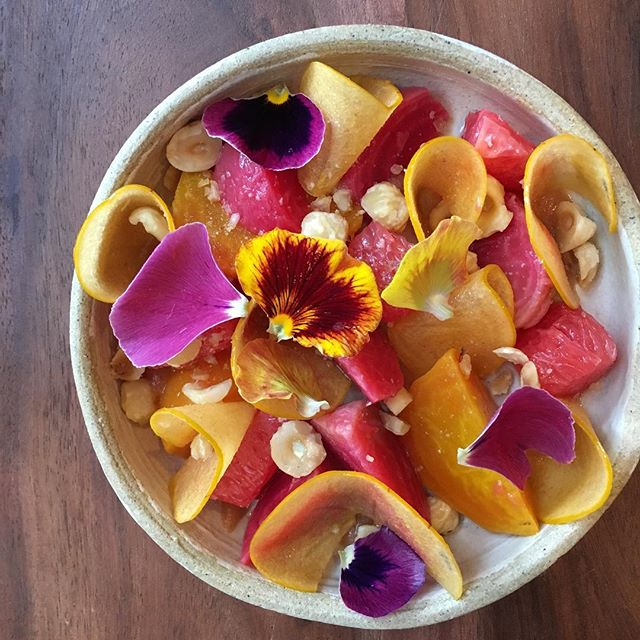 Marinated beets, persimmon, grapefruit, hazelnut, fermented plum, rose vinegar #racionpasadena #onlyinoldpas #tapas #beets #persimmon #fallbutitstillfeelslikesummer #eeeeeats #eaterla #latimesfood
