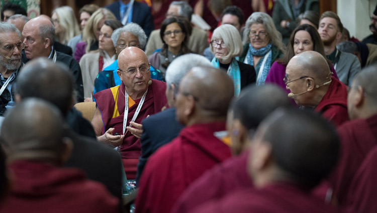 Matthieu Ricard discussing the role of compassion in secular ethics on March 15, 2018 at the Mind & Life Dialogue in Dharamsala.  Photo by Tenzin Choejor.