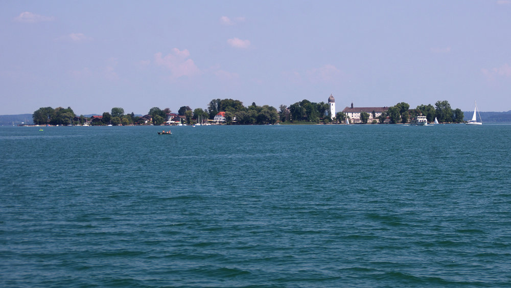Approaching the Fraueninsel. The island can only be reached by boat