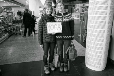Tour guide Svava and yoga teacher Fran waiting at the airport!