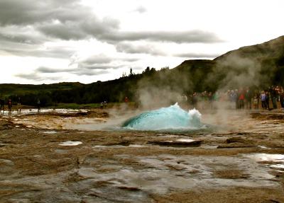 Strokkur geyser getting ready to blast