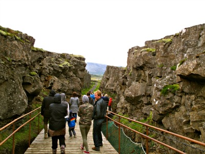 Walking through Almannagjá gorge; one side is the European the other the North American continental plates which are continually pulling away from each other.
