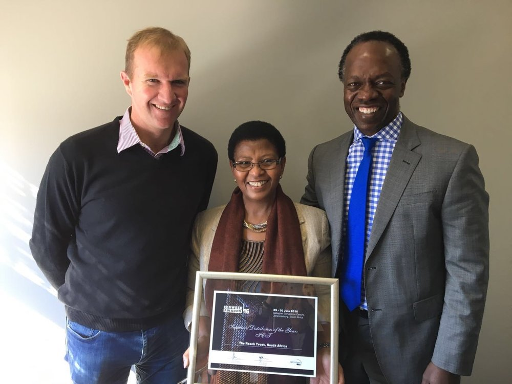 Andrew Rudge (CEO of Reach), Elizabeth Maepa (Trustee of Reach) and Sizwe Nxasana (Chairman of the FirstRand Foundation).
