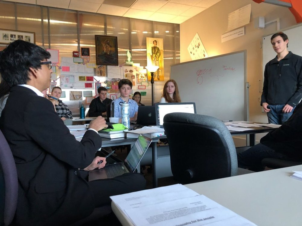 A non-traditional final: Tanner (12th) defends his synthetic philosophy during his Philosophy Wars final exam