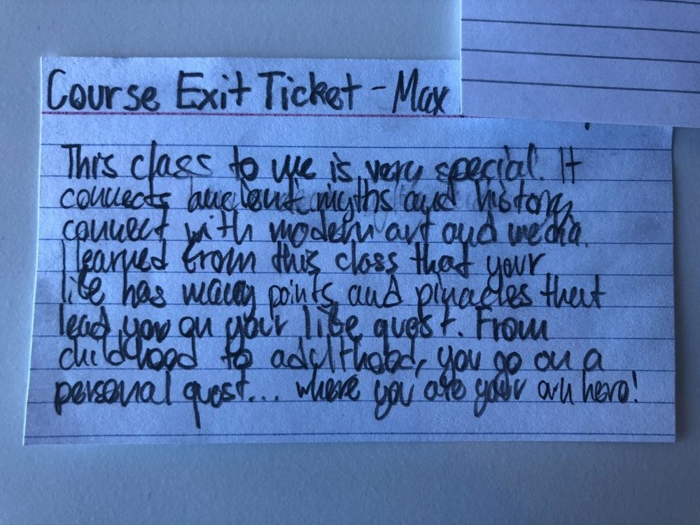 Jim Percoco's Hero's Quest exit ticket gives Max (9th) the opportunity to reflect on his learning in this semester-long history course.