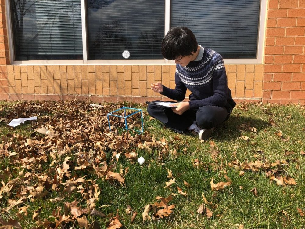 William (7th) records observations of his biocube for Nature Writing, a middle school English Language Arts seminar.