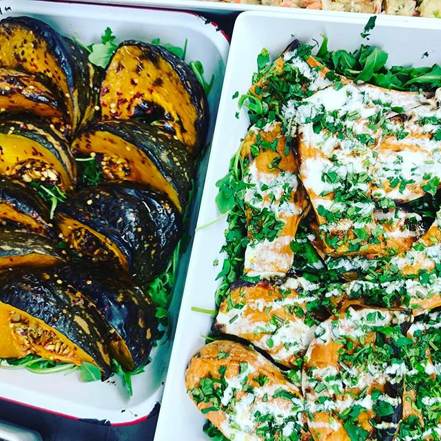 We love a chunk of roasted veg. 💥 Maple and sesame roasted pumpkin with chilli + roasted sweet potato with coriander and citrus tahini drizzle.