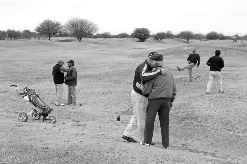 Ex-President Menem playing golf with friends, La Rioja, Argentina 2008