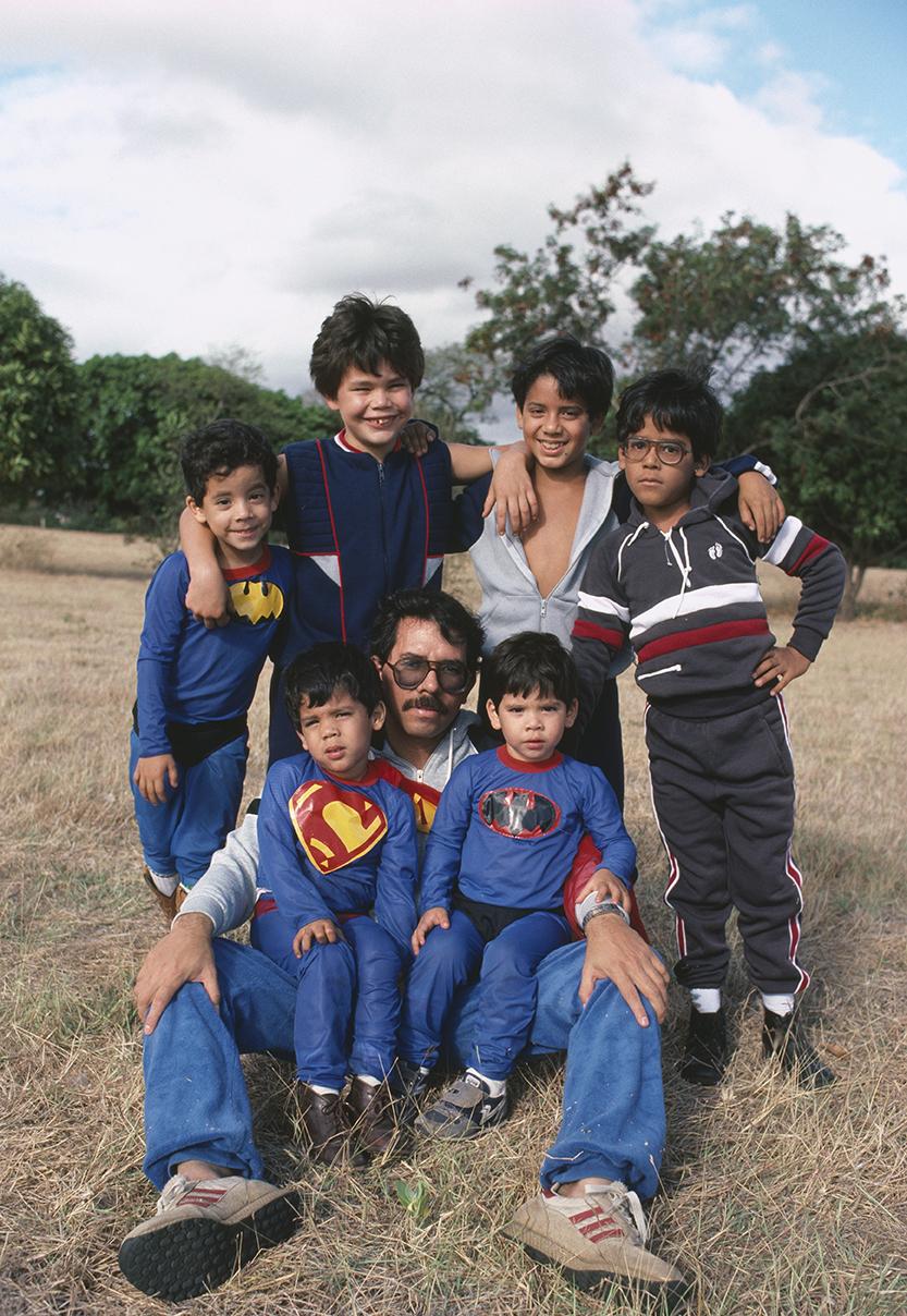 President Daniel Ortega and sons, Managua, Nicaragua, 1983.