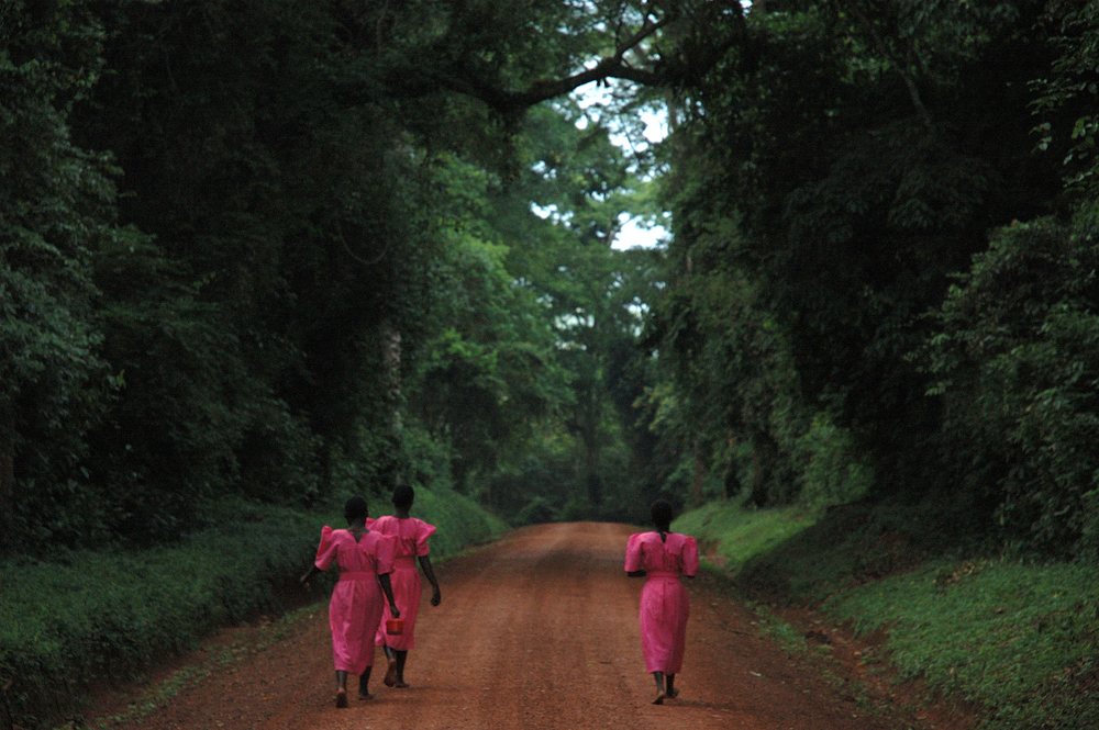 Girls walking to school.