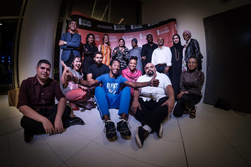 Group shot of Hekayah event performers.                                                                Photo by  Waleed Shah .