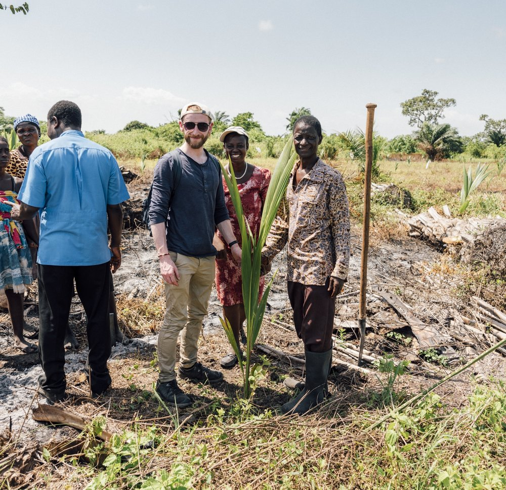 Spot the beneficiaries: Tim West (photographer), Grace Quansah (MDRS volunteer) and Mr Addison (local coordinator).