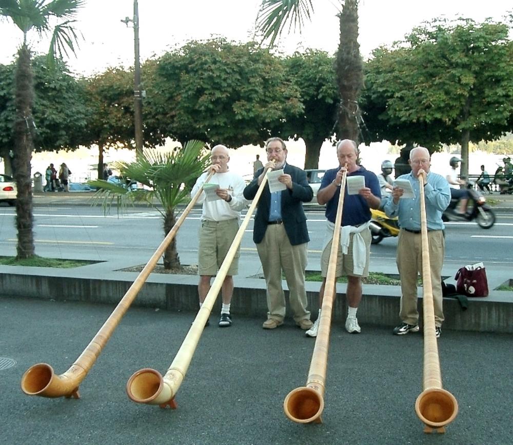 Alpine Horns on tour with the Met, Lucerne Switzerland
