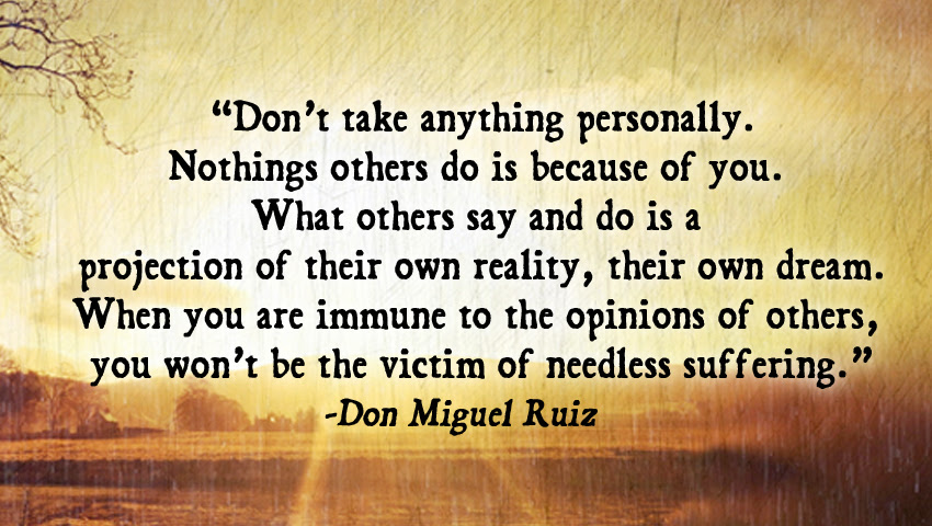 """The 2nd Agreement from The Four Agreements: """"Don't take anything personally!"""" This is especially crucial as singers!"""