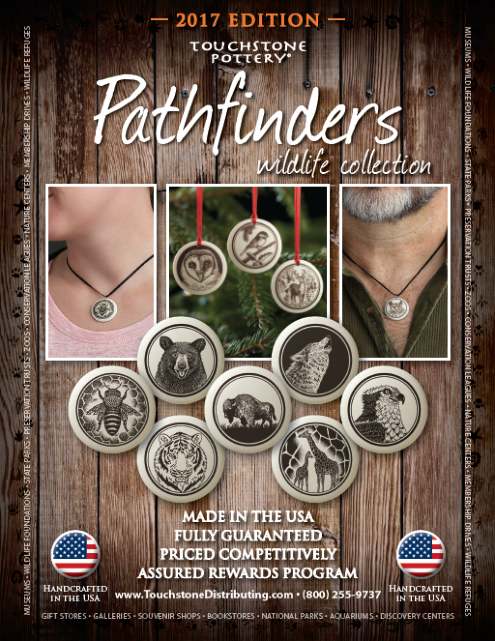 Touchstone Distributing Pathfinders Pendants Ceramic Wildlife Pendants Jewelry