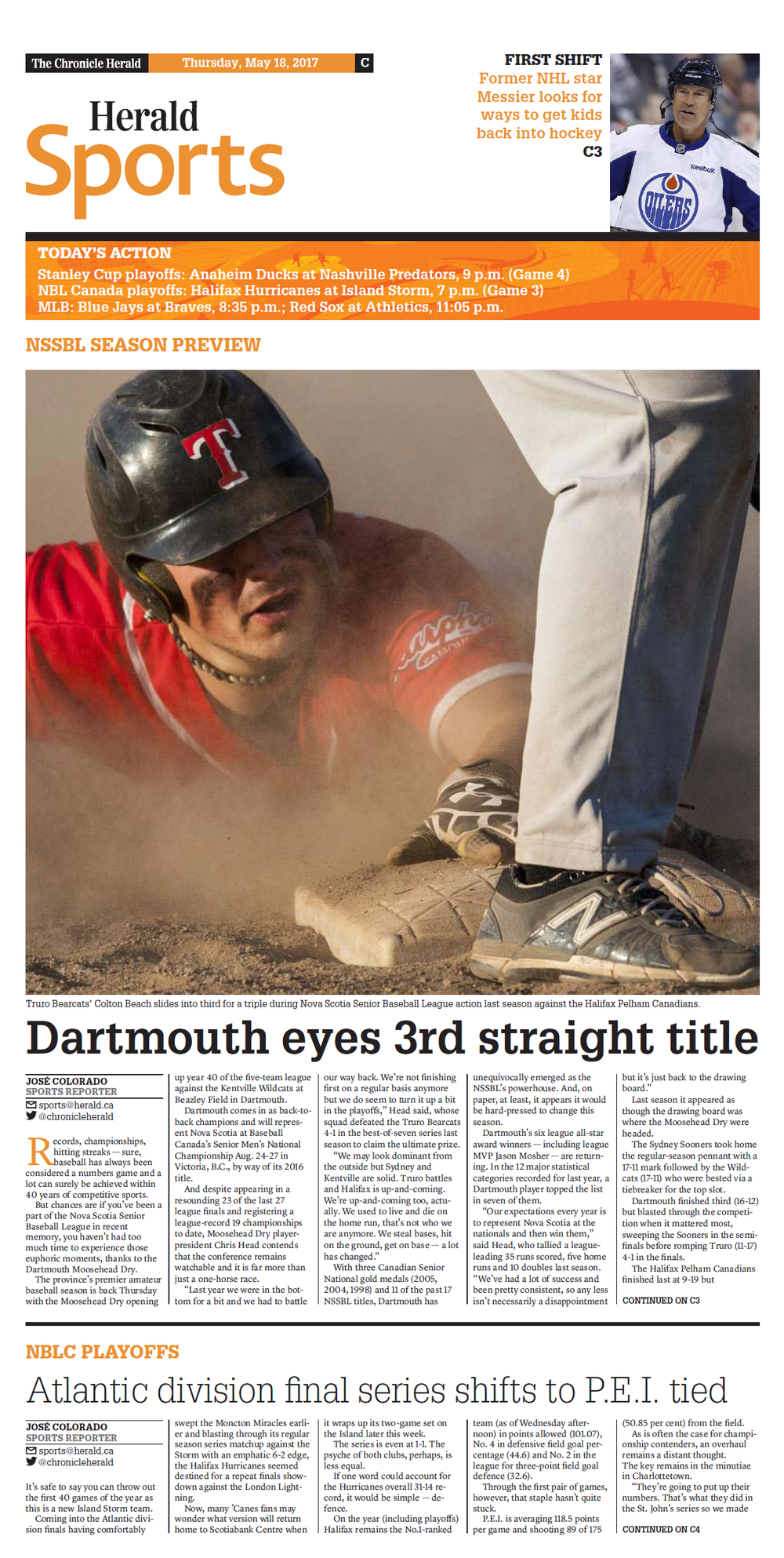 DARTMOUTH EYES 3RD STRAIGHT TITLE - Dartmouth, N.S. - May 18, 2017