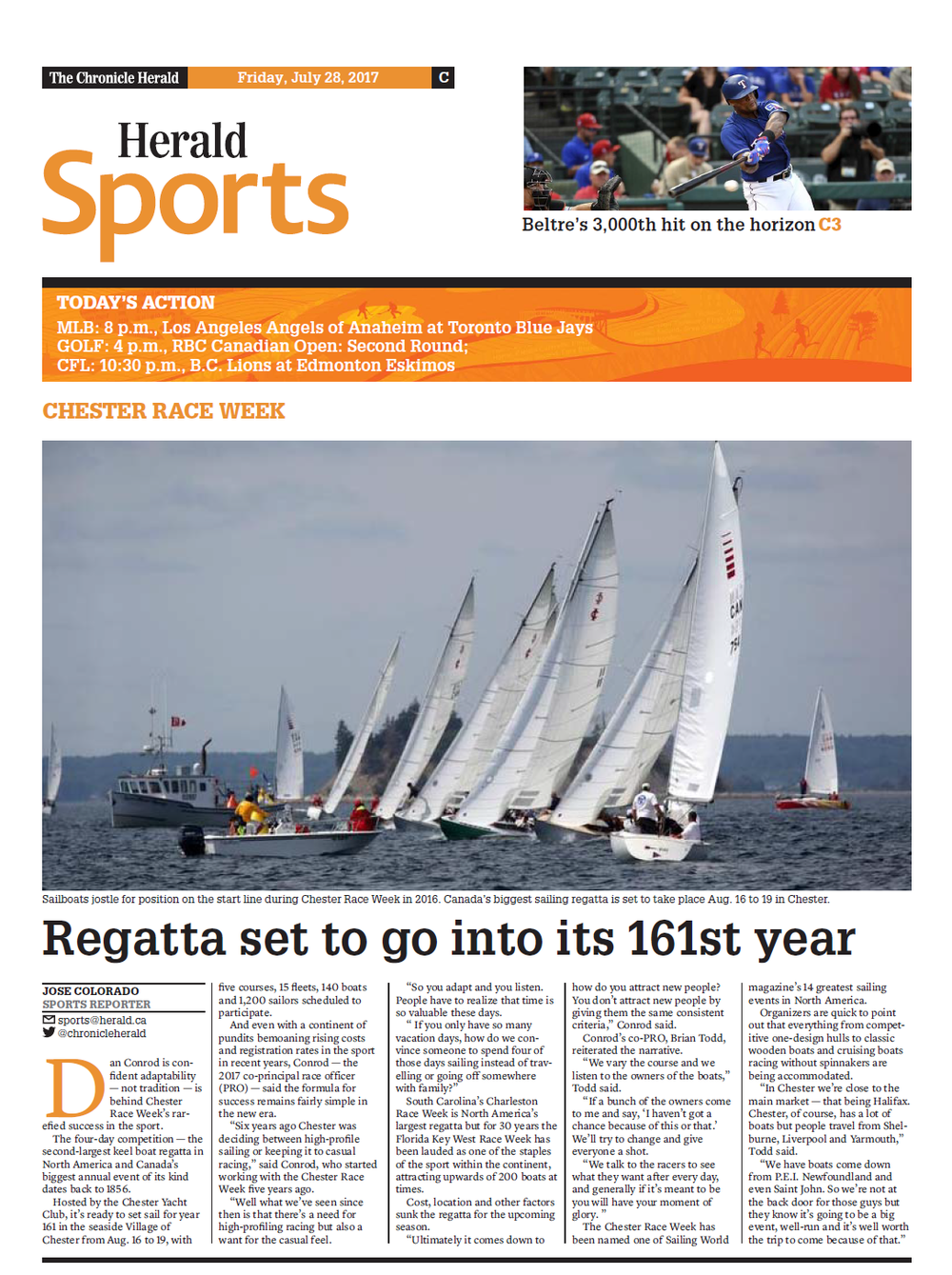 REGATTA SET TO GO INTO ITS 161ST YEAR - Halifax, N.S. - July 28, 2017